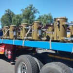 16kVA pole mounted units loaded onto a truck for dispatch